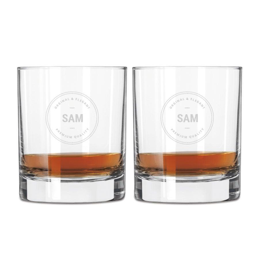 Vaso de whisky grabado (2 piezas)