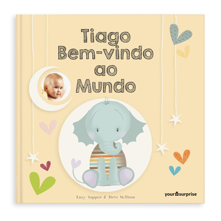 Livro do bebé com nome - Bem-vindo ao Mundo - Capa dura