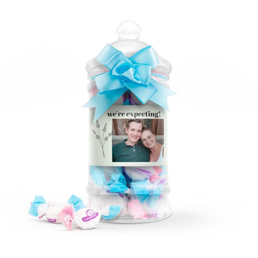 Cukríky v personalizovanej fľaši - Odhalenie pohlavia dieťaťa (Gender reveal) - Chlapec