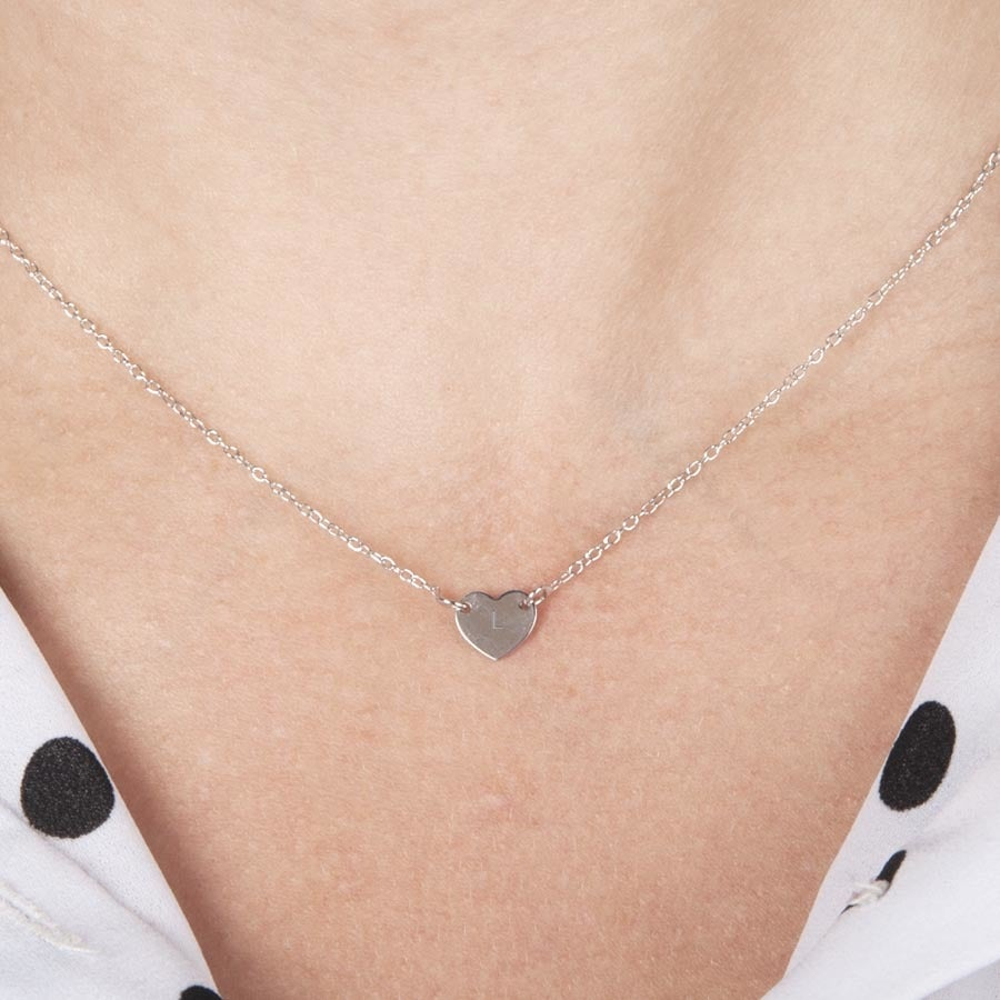 Engraved silver initial necklace - Heart