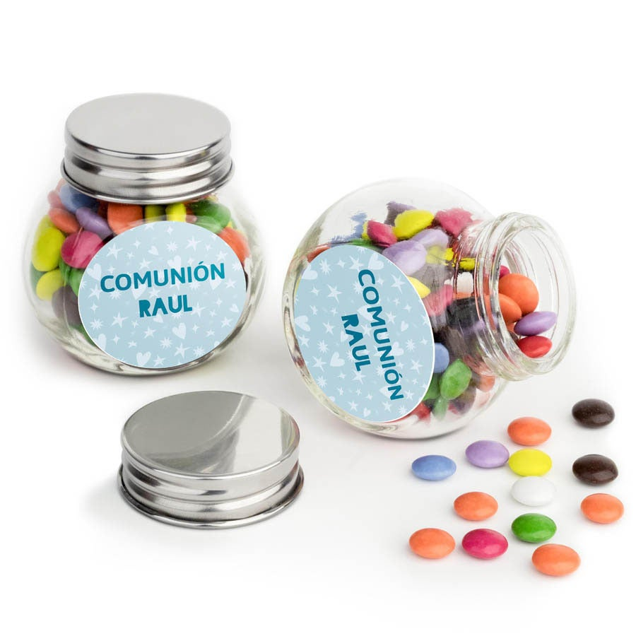 Mini bombonera de cristal con chocolates - Set de 10