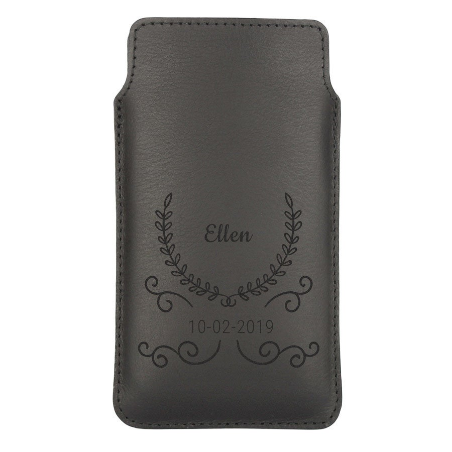 Leather phone case - S - Black
