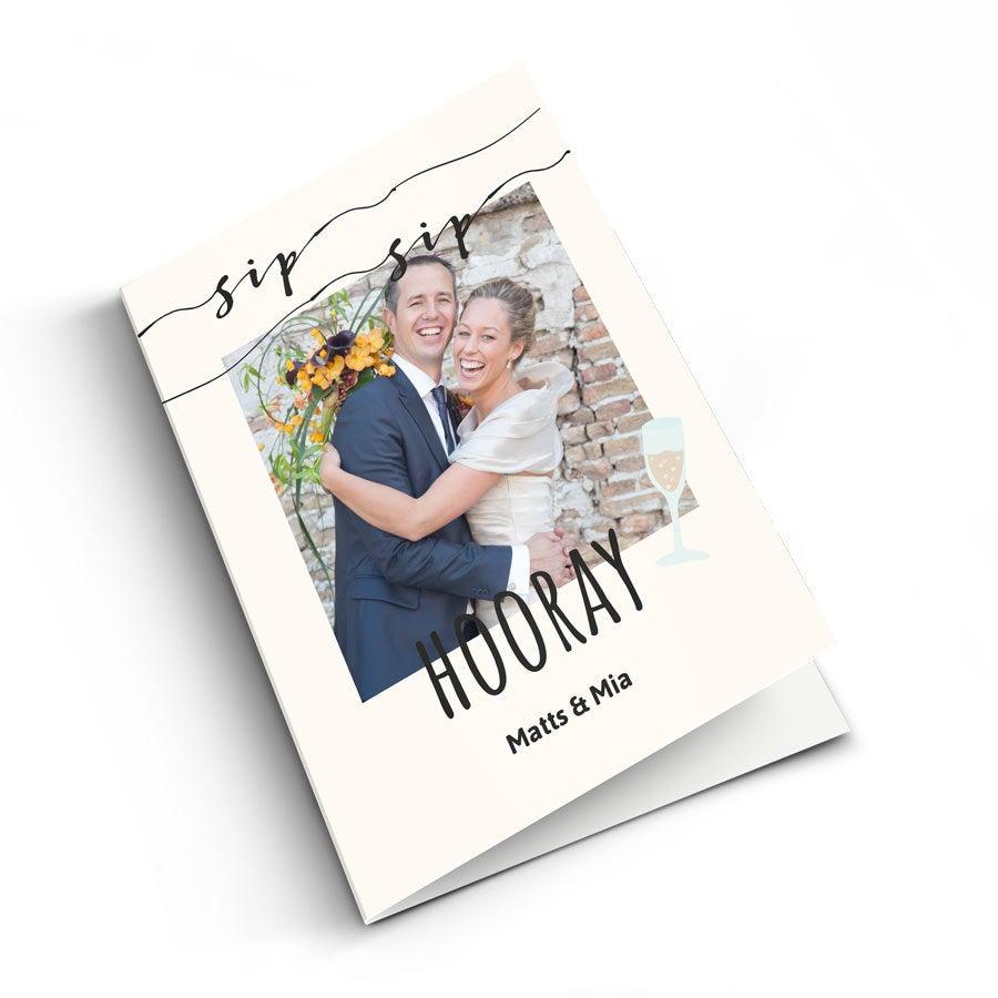 Bryllupskort med bilde - XL - Vertikalt