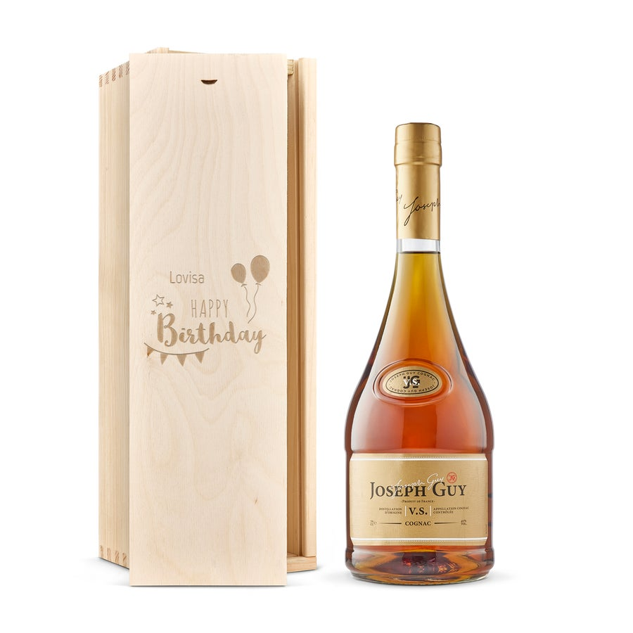 Joseph Guy brandy  - Låda med gravyr