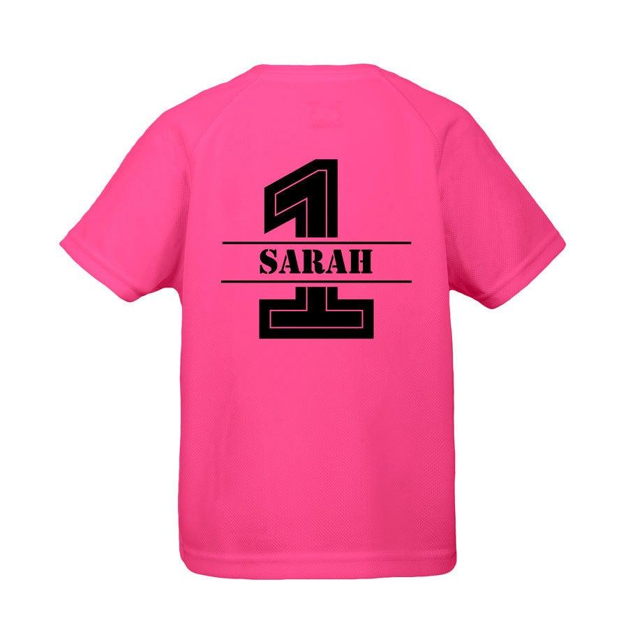 Lasten urheilullinen t-paita - Fuschia - 12 vuotta
