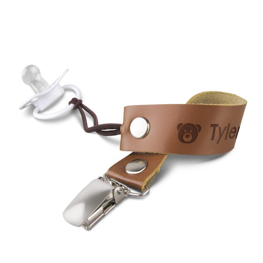 Leather pacifier clip (brown)