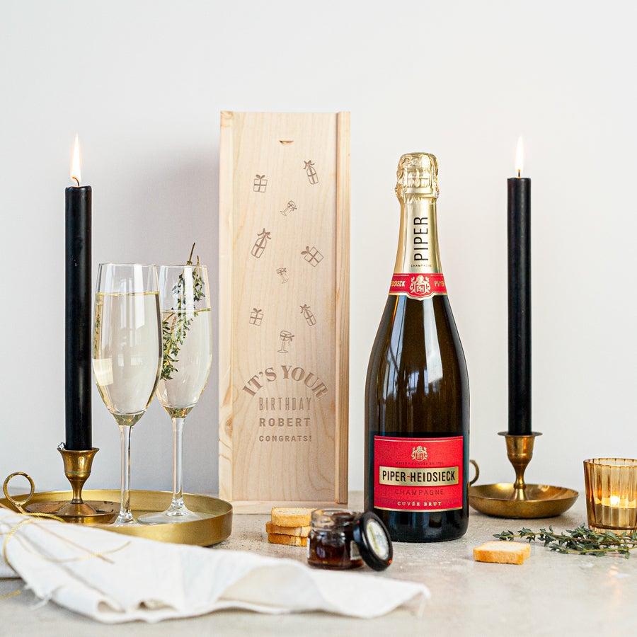 Champagne in gegraveerde kist - Piper Heidsieck Brut (750ml)