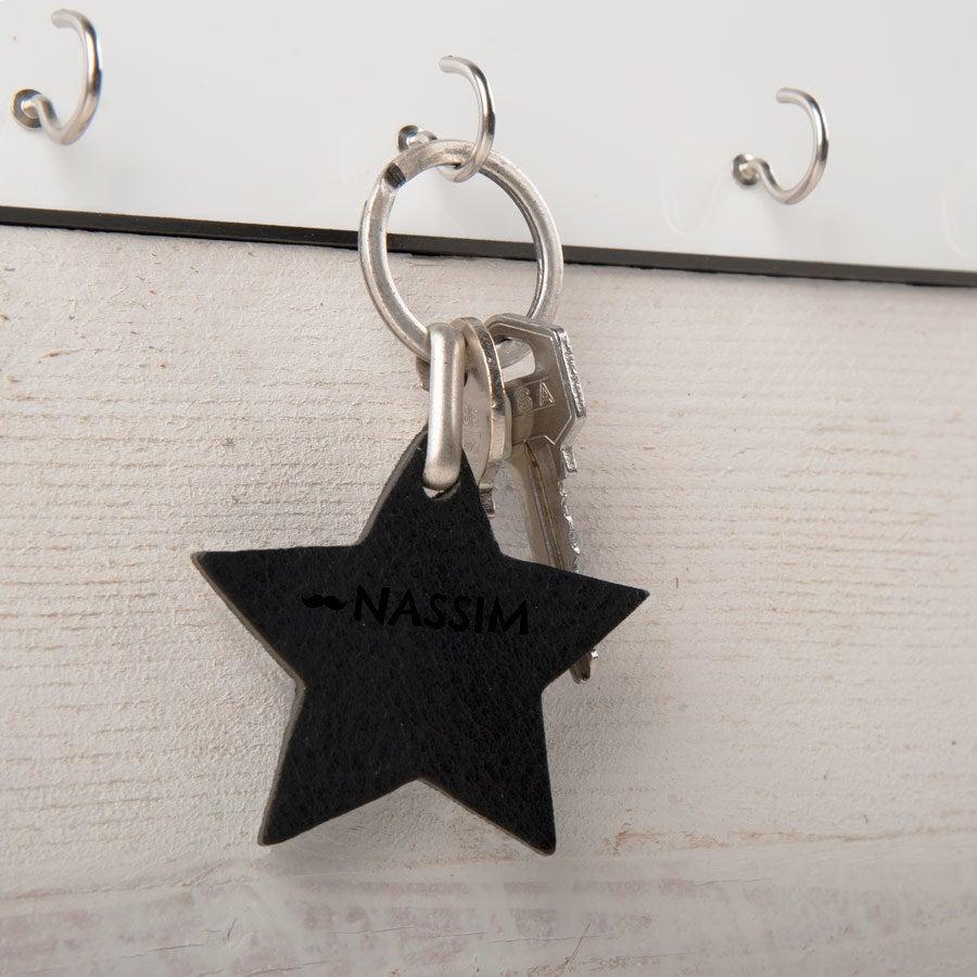 Porte-clé prénom en cuir - Etoile - Noir