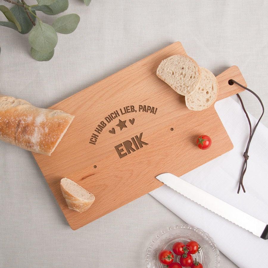 Vatertag - Holzbrett mit Gravur - Buche - horizontal