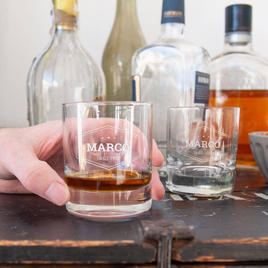 Grawerowane szklanki do whiskey - 2 sztuki
