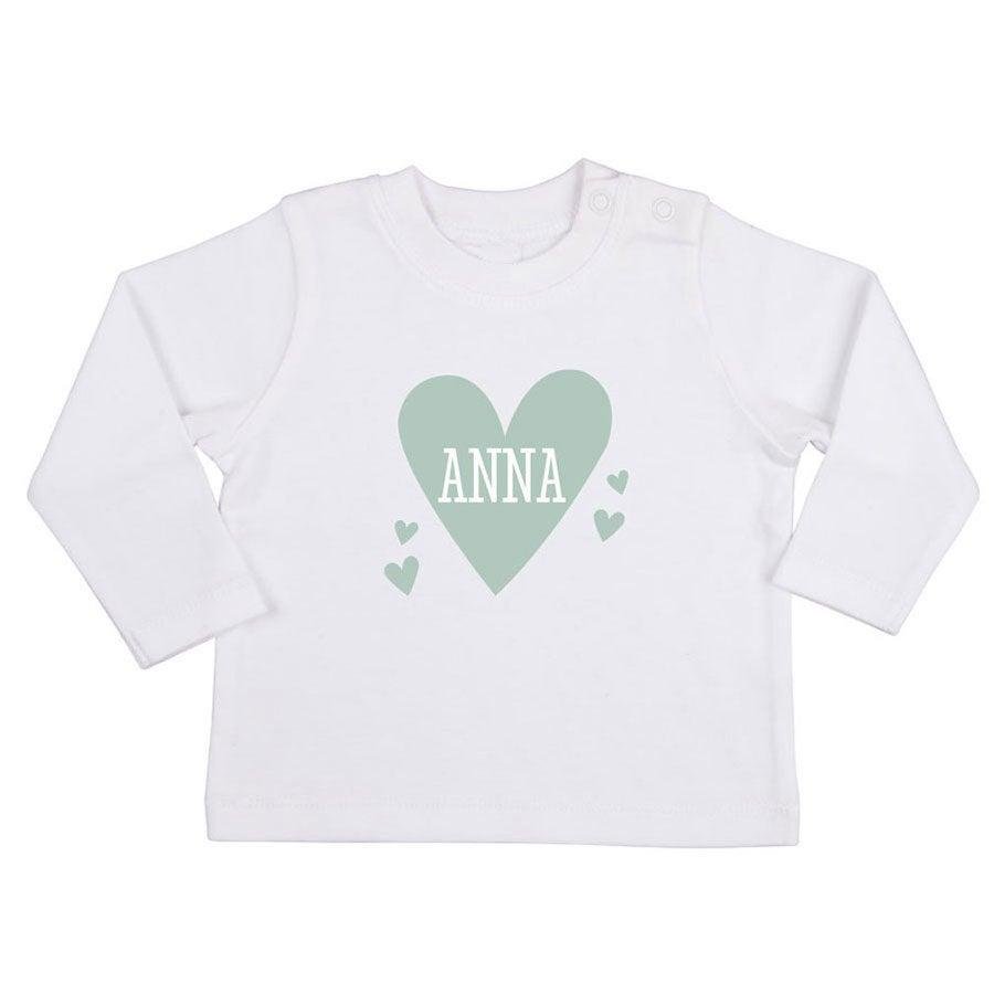 Babyskjorta med tryck - Långärmad - Vit - 50/56