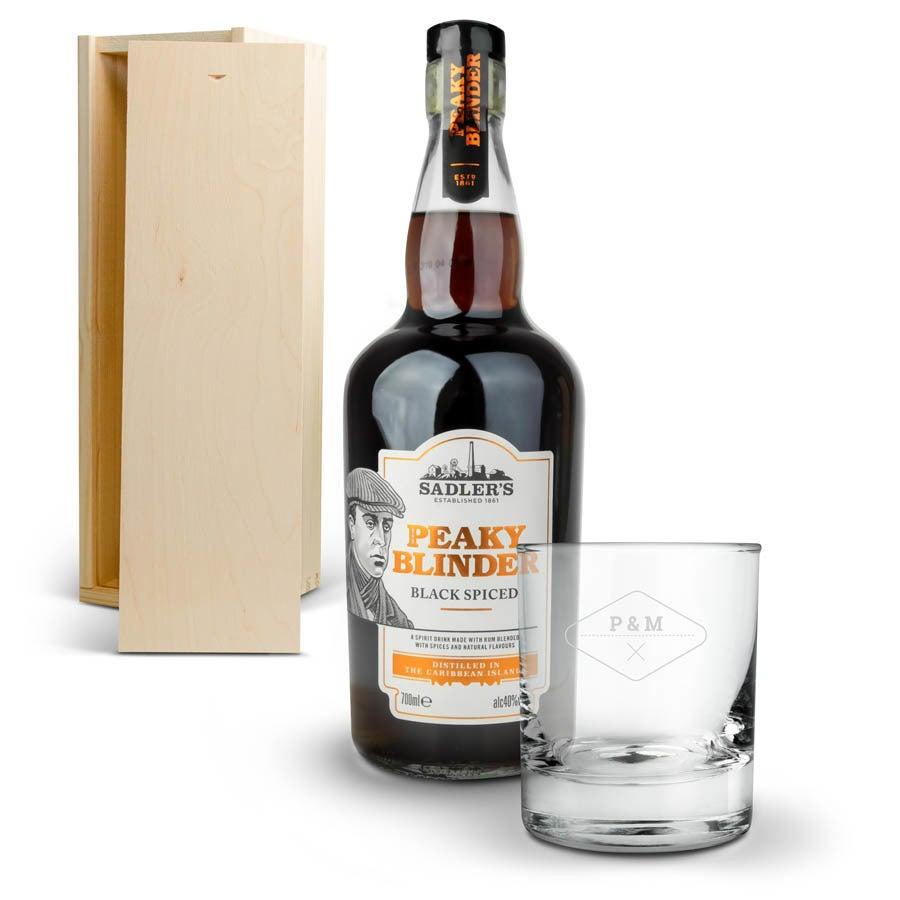 Peaky Blinders rum készlet vésett tokkal
