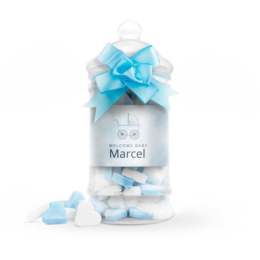 Suikerhartjes in bedrukte babyfles (blauw) - groot