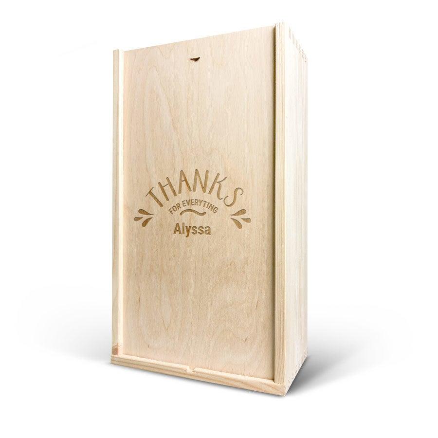 Caja de vino - Doble - Tapa grabada