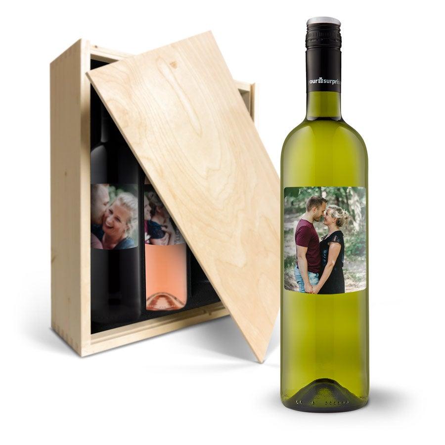 Coffret à vin Maison de la Surprise Merlot, Sauvignon Blanc et Syrah - étiquette personnalisée