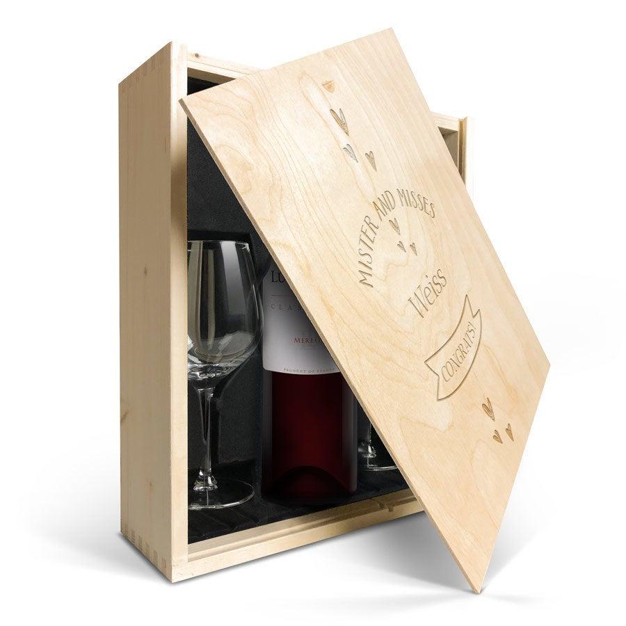 Geschenkset Wein mit Gläsern  - Luc Pirlet Merlot - Gravierter Deckel