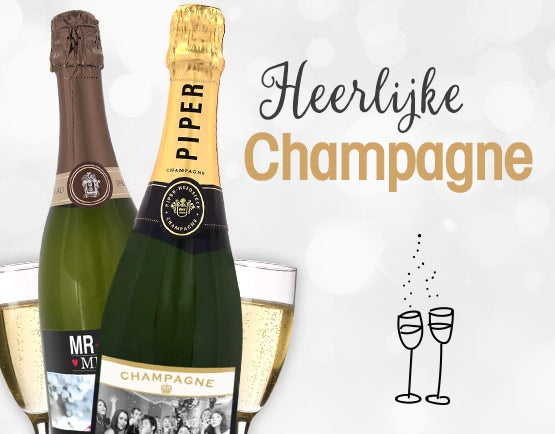Champagne cadeaus met gegraveerde glazen