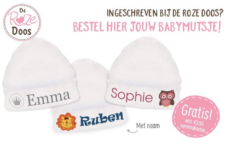Super De Roze Doos - de mooiste babymutsjes met naam of foto. PP-54