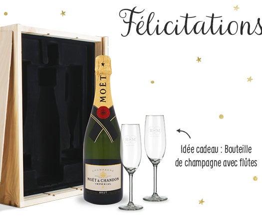 Coffret champagne avec flûtes personnalisées
