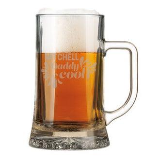 Graveret ølkrus i glas