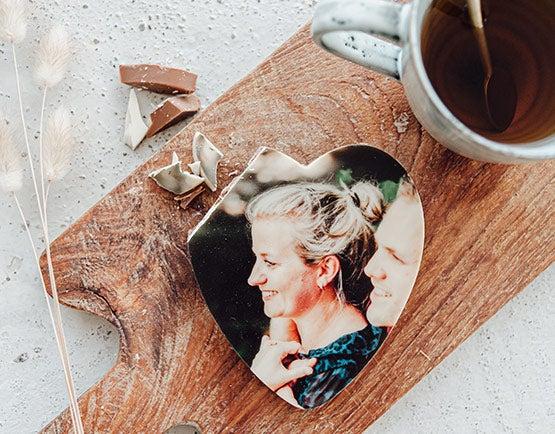 Coeur en chocolat avec photo