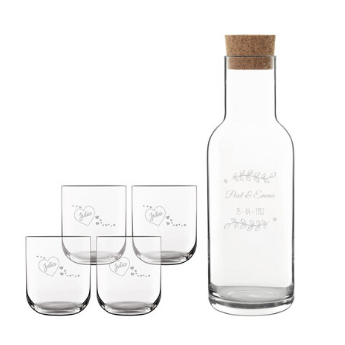 engraved decanter and water glasses