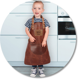 engraved leather BBQ apron for children