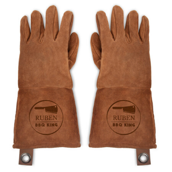 engraved leather BBQ gloves