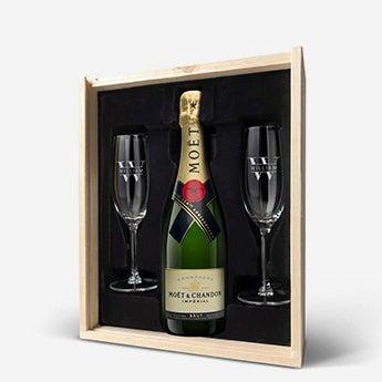 Presente de champanhe com óculos