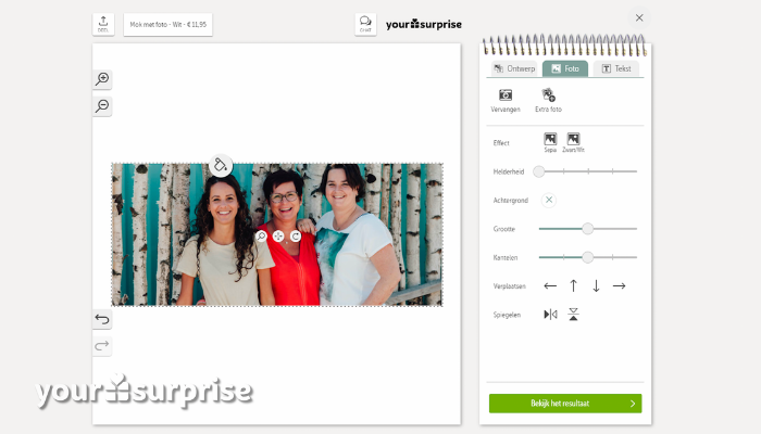 upload je foto in onze online editor