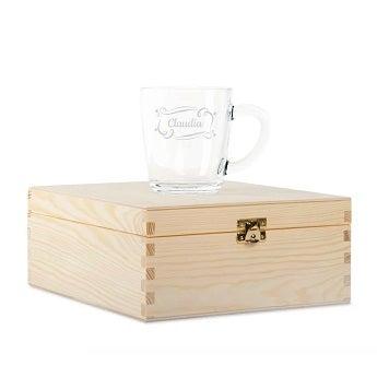 Teebox mit graviertem Glas