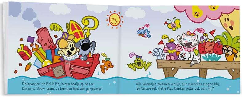 pagina uit het boek Woezel & Pip vieren Sinterklaas
