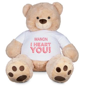 Gigantische beer met tekst: ik hou van jou