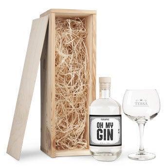 Gin in mooie houten kist of gegraveerd gin-tonic glas