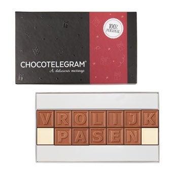 Chocoladetelegram met paasboodschap