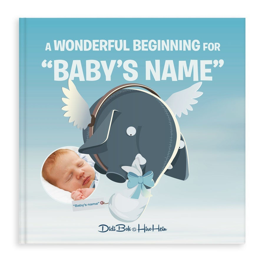 blue personalised Ollimania baby book