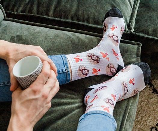 Socken mit Gesicht