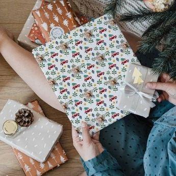 Papel de regalo navideño con foto